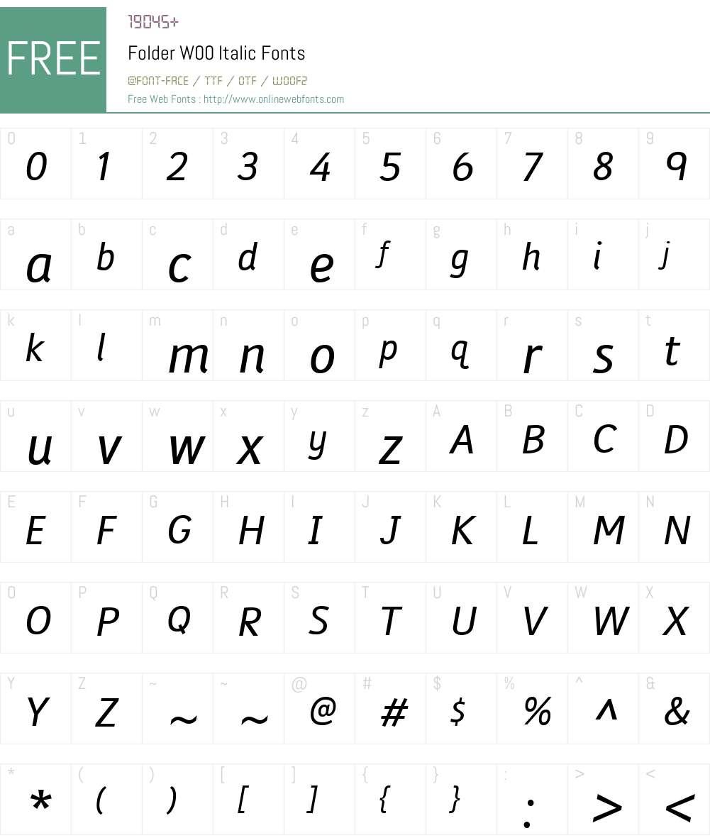 FolderW00-Italic Font Screenshots