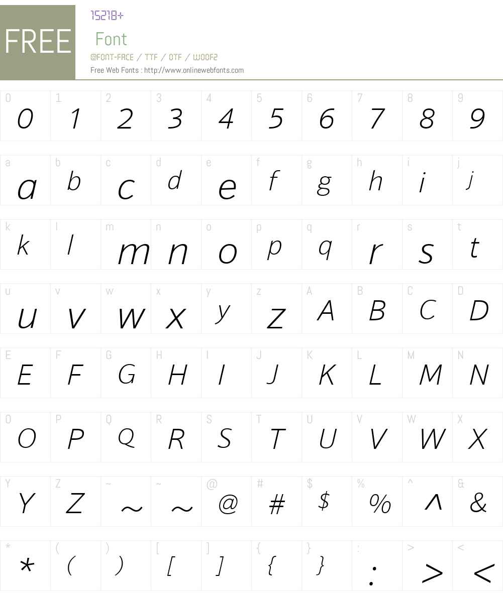 SonusW01-ExtraLightItalic Font Screenshots