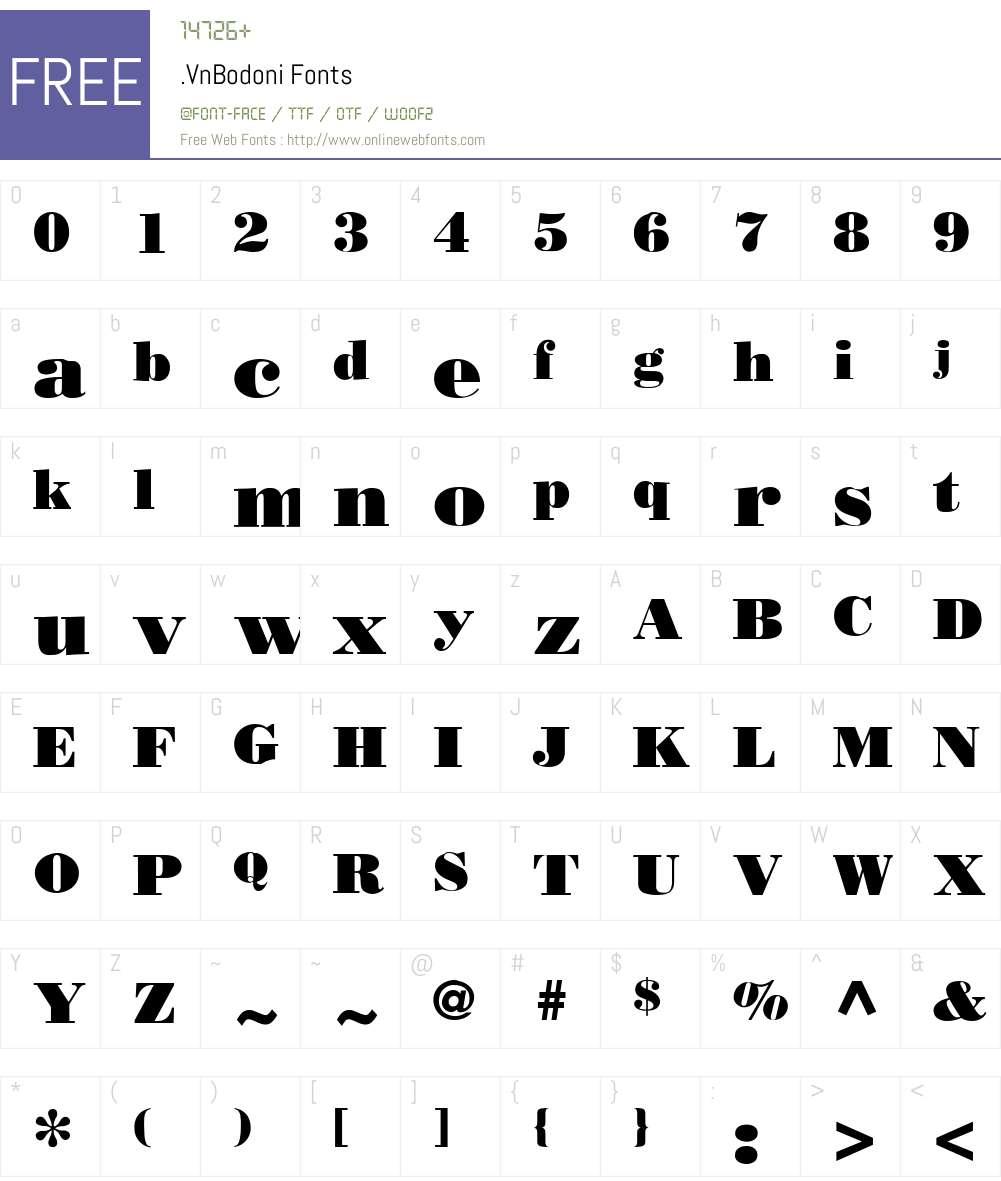 .VnBodoni Font Screenshots