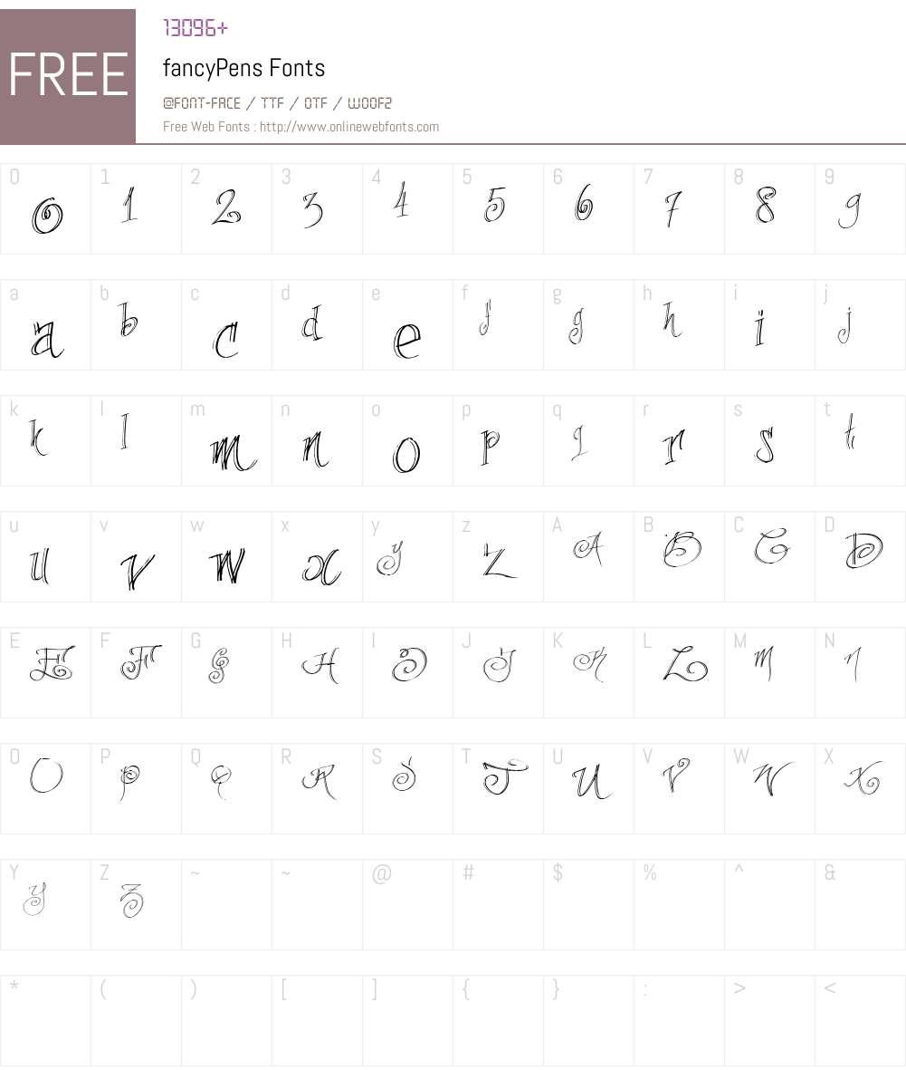 fancyPens Font Screenshots
