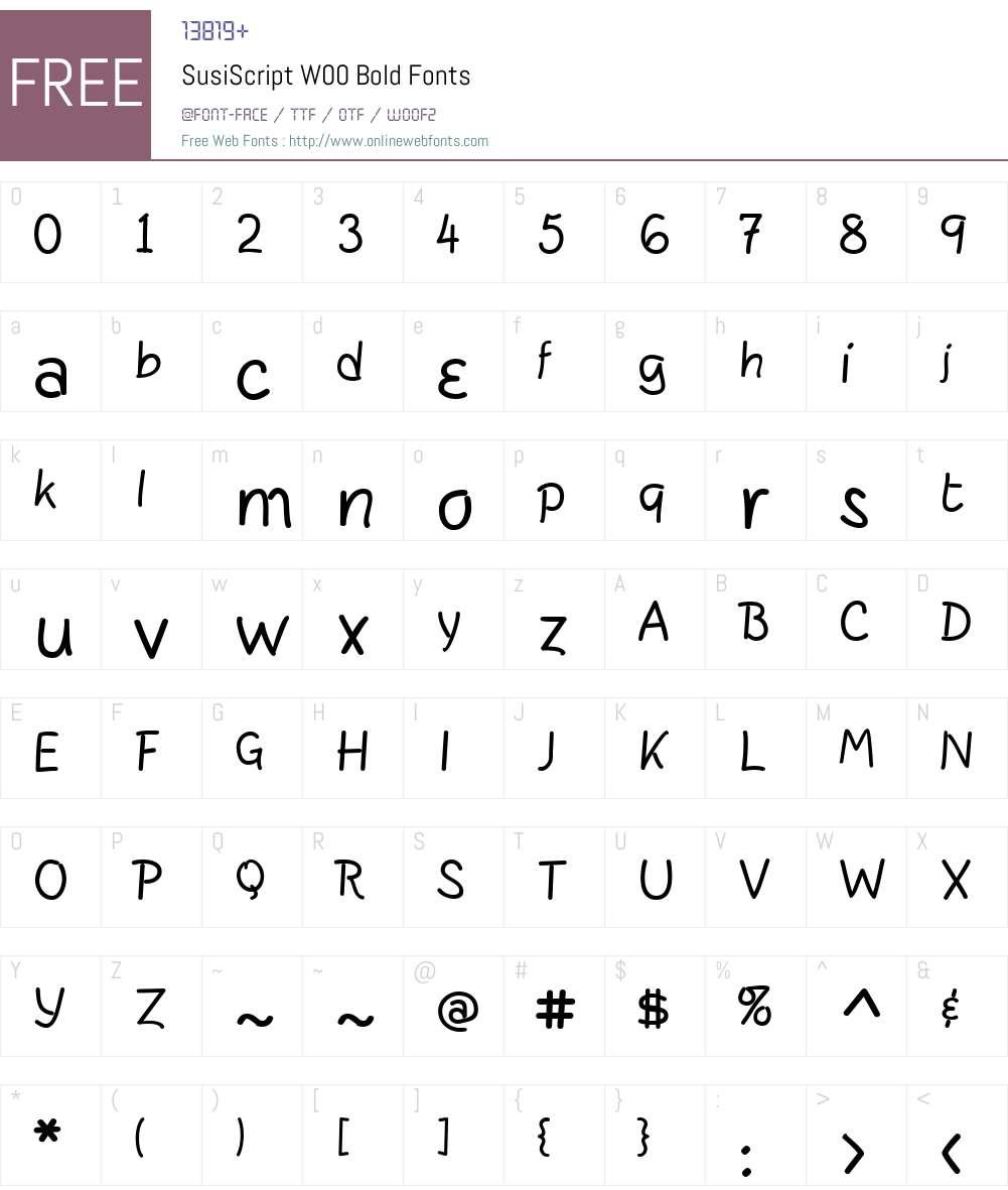 SusiScriptW00-Bold Font Screenshots