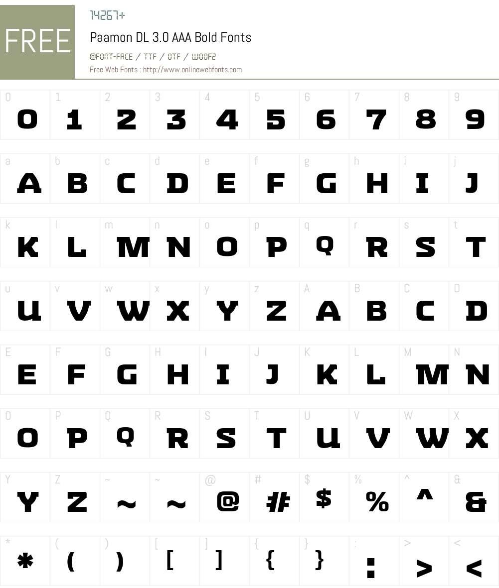 Paamon DL 3.0 AAA Font Screenshots