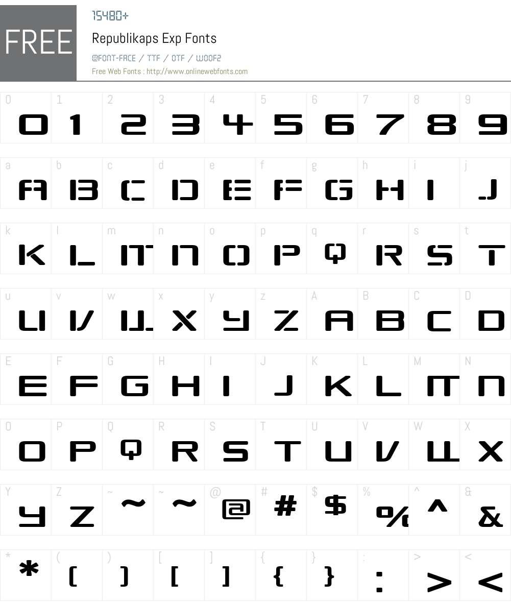Republikaps Exp Font Screenshots
