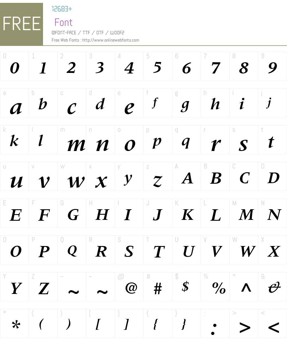 MeridienW01-BoldItalic Font Screenshots