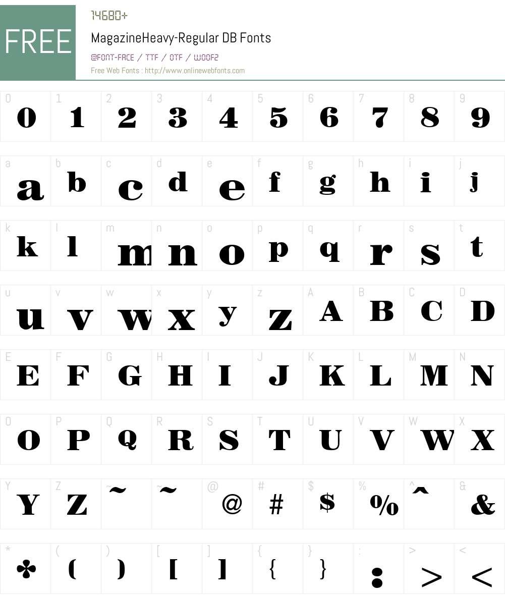 MagazineHeavy DB Font Screenshots