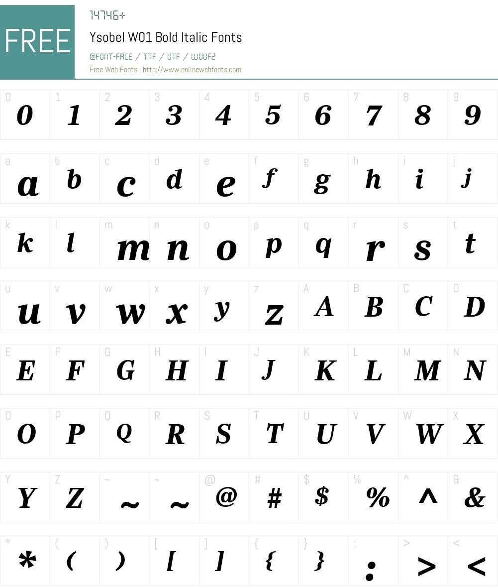 YsobelW01-BoldItalic Font Screenshots