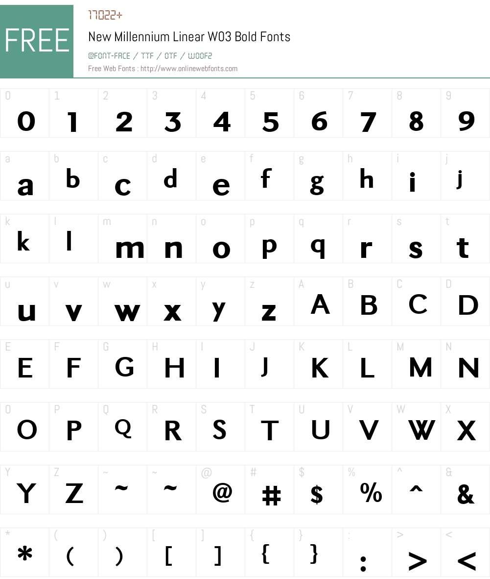 New Millennium Linear Font Screenshots