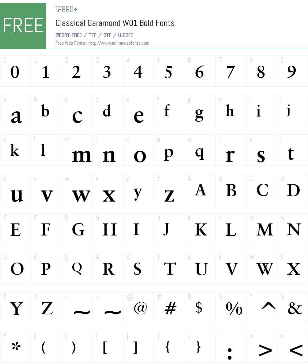 ClassicalGaramondW01-Bold Font Screenshots
