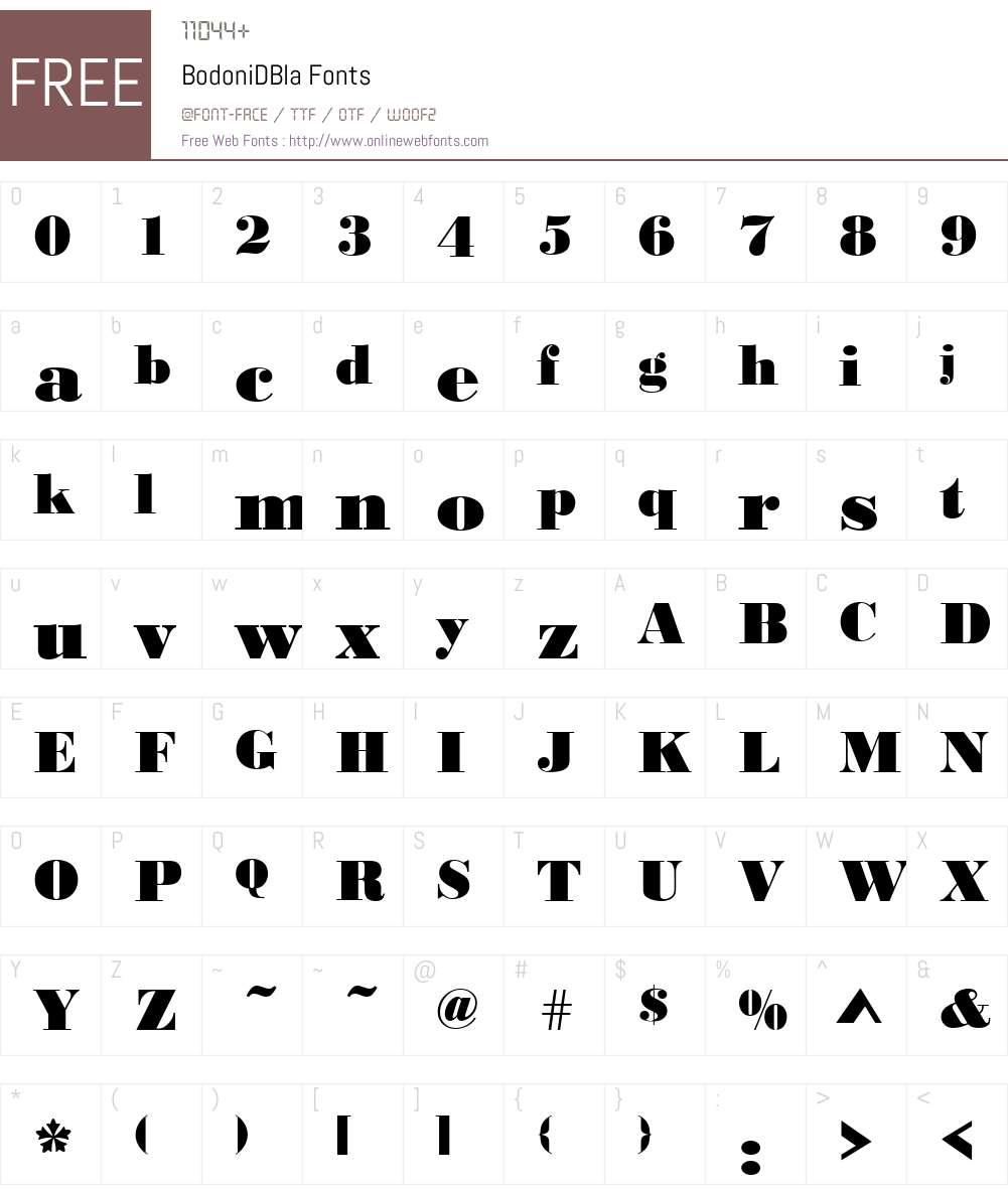 BodoniDBla Font Screenshots