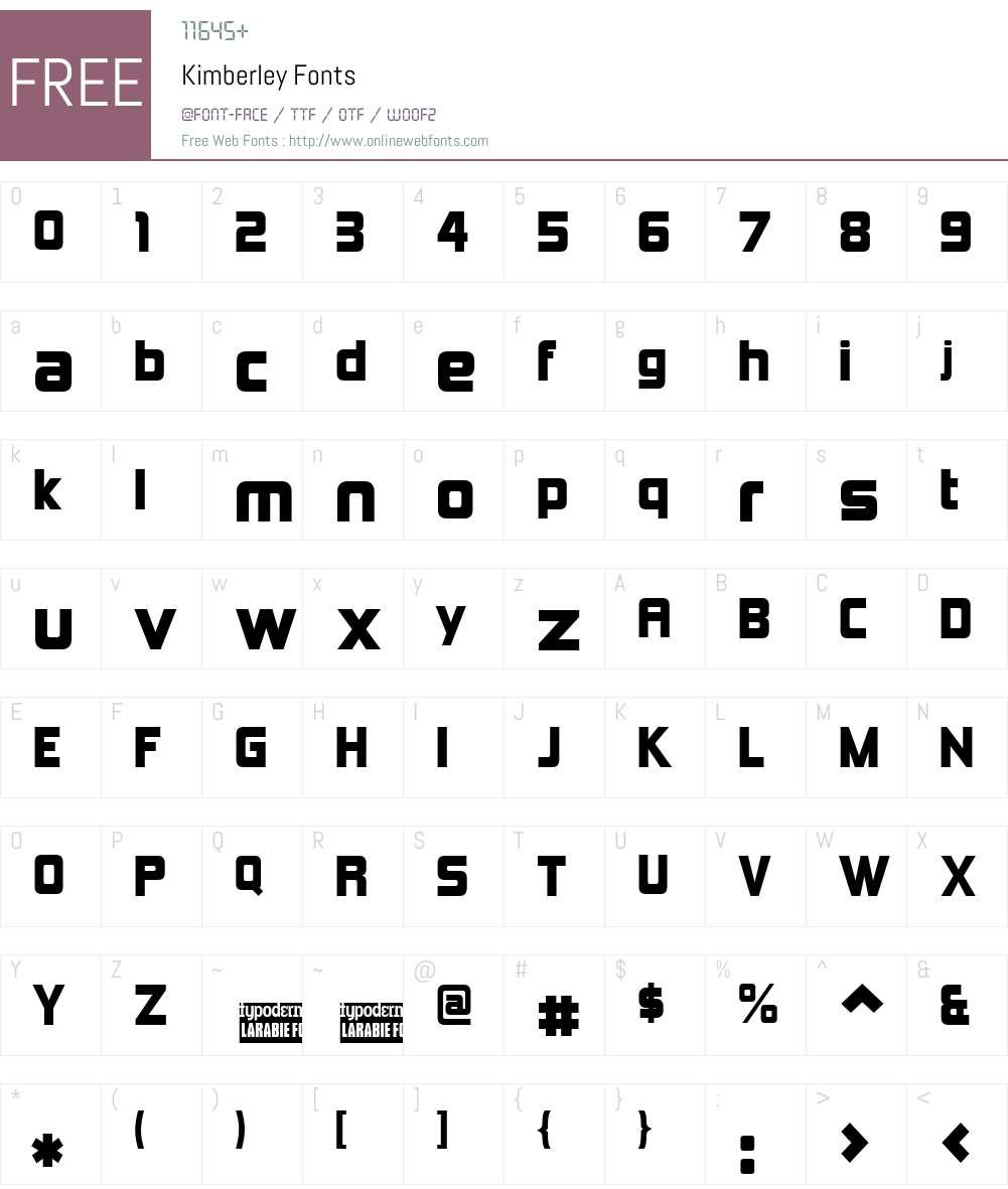 Kimberley Font Screenshots