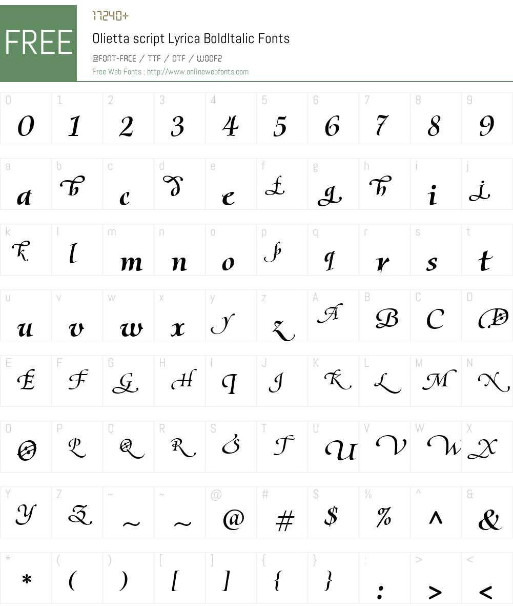 Olietta script Lyrica Font Screenshots