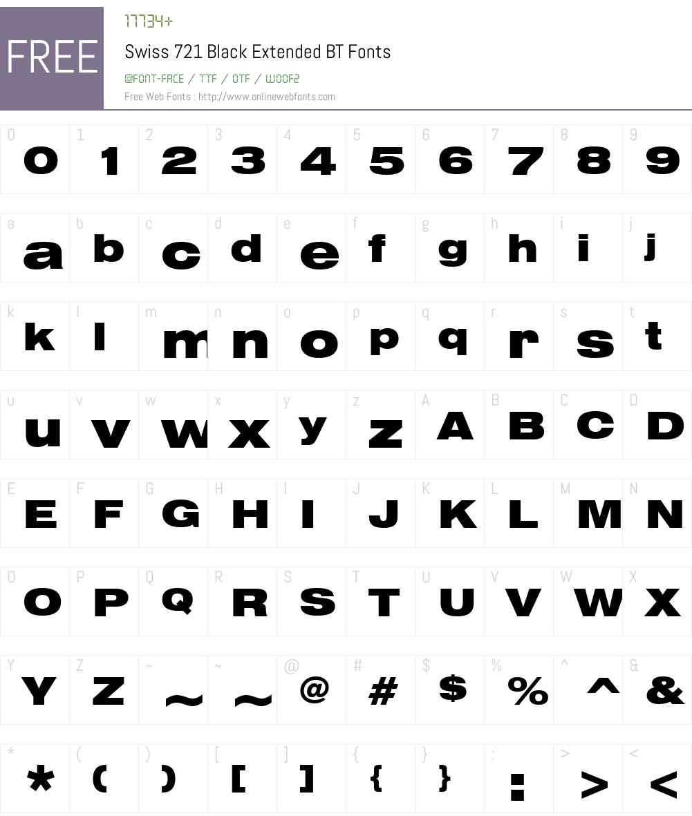 Swis721 BlkEx BT Font Screenshots