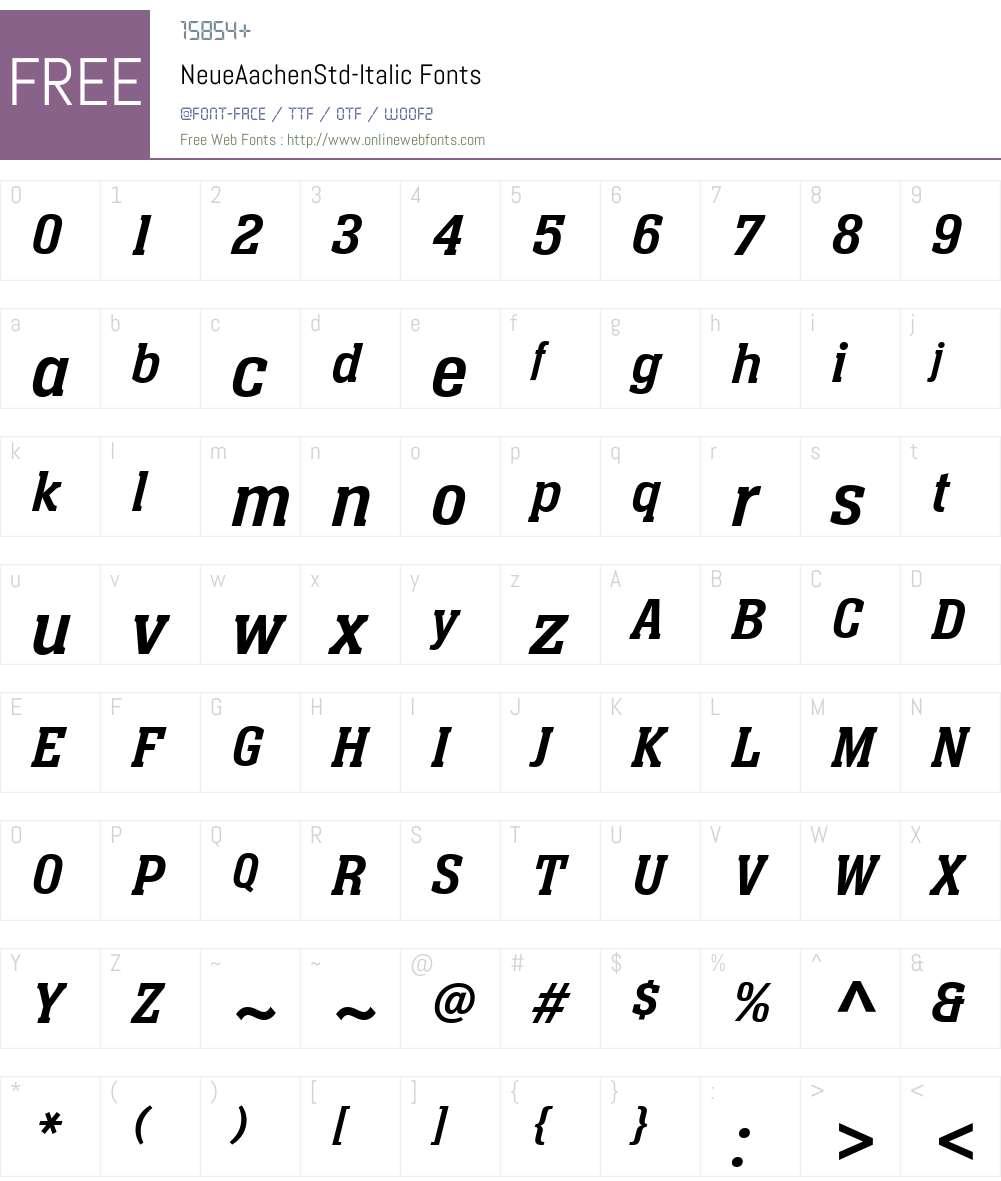 NeueAachenStd-Italic Font Screenshots