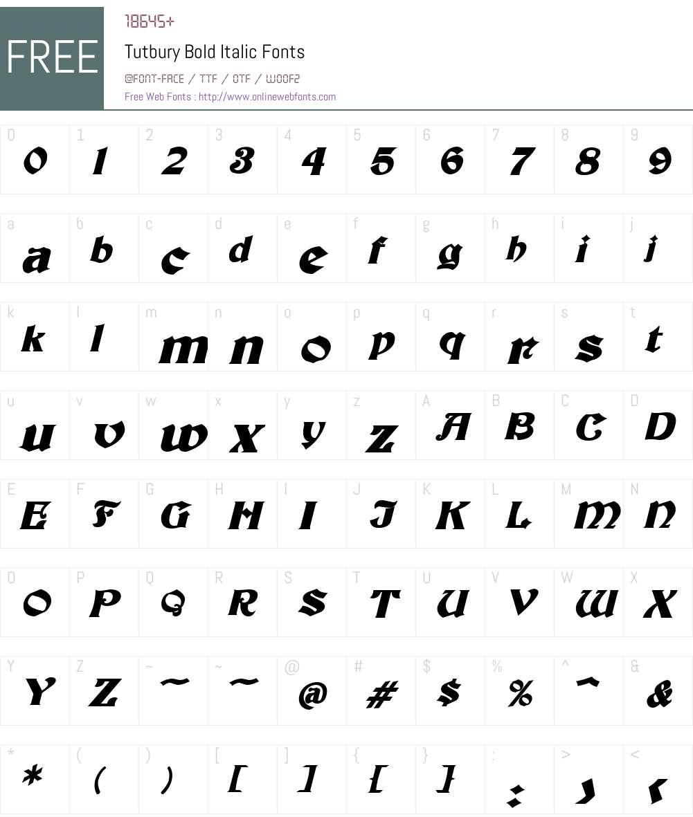 Tutbury Font Screenshots