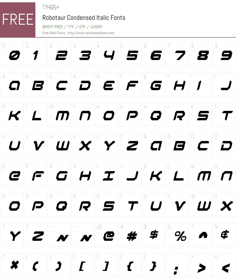 Robotaur Condensed Italic Font Screenshots