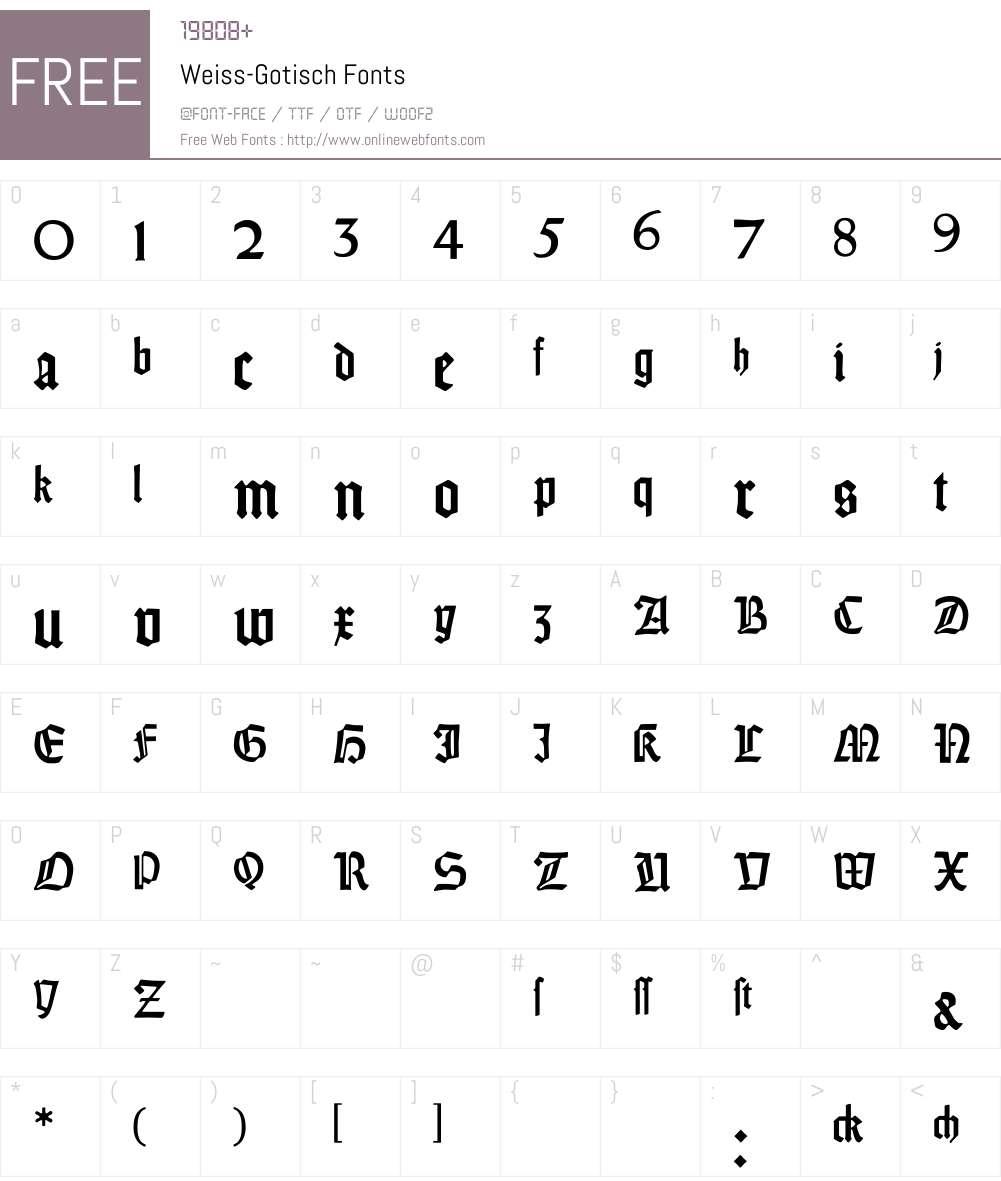 Weiss-Gotisch Font Screenshots
