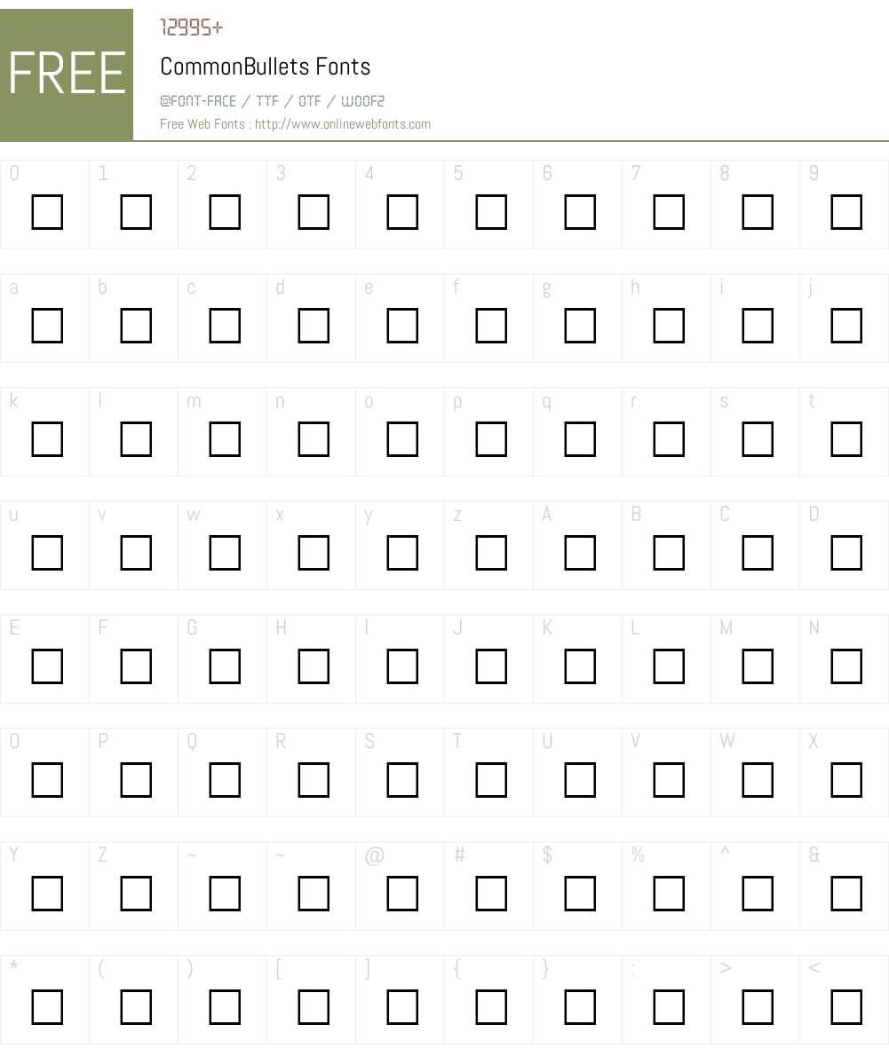 CommonBullets Font Screenshots