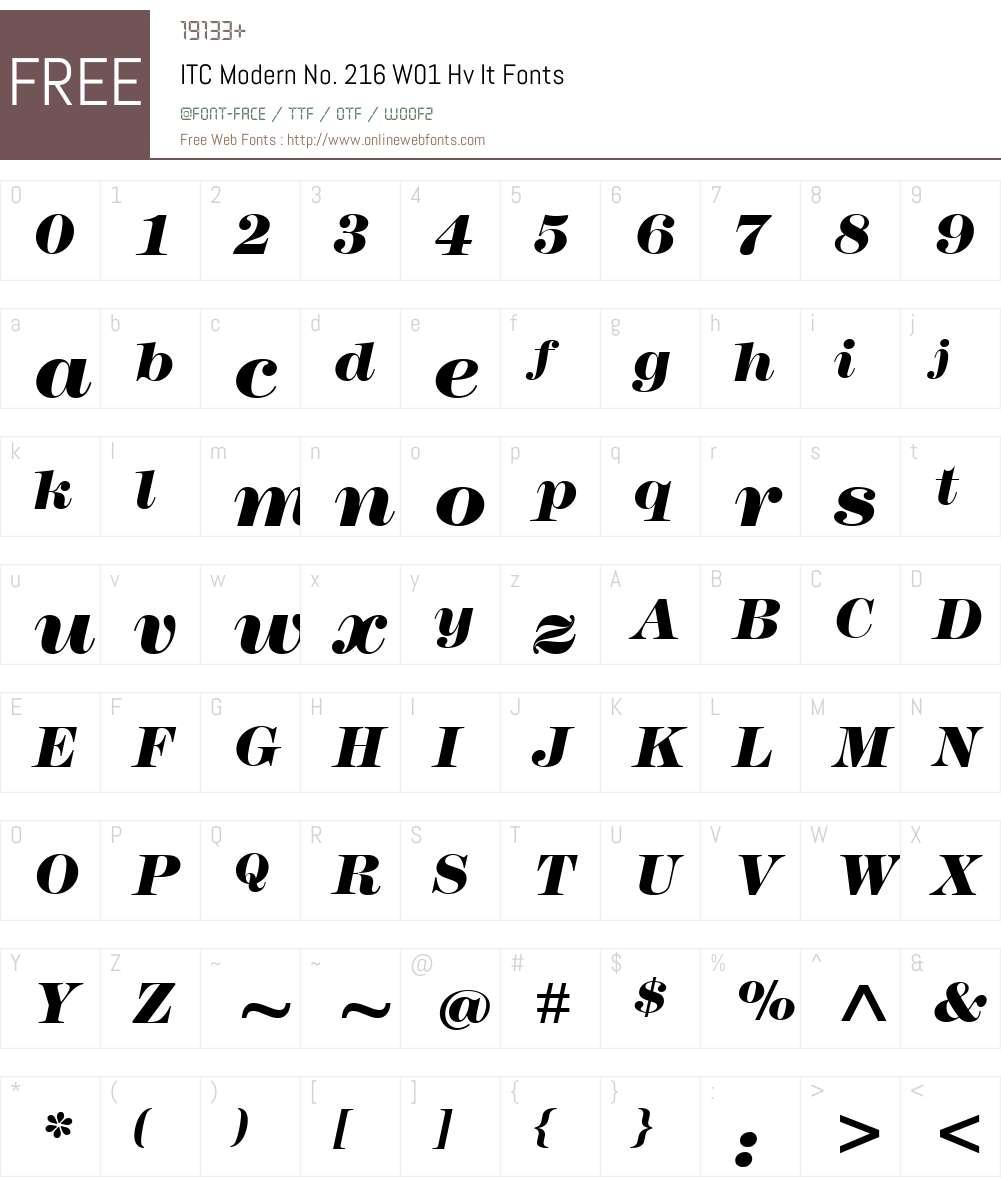ITCModernNo.216W01-HvIt Font Screenshots