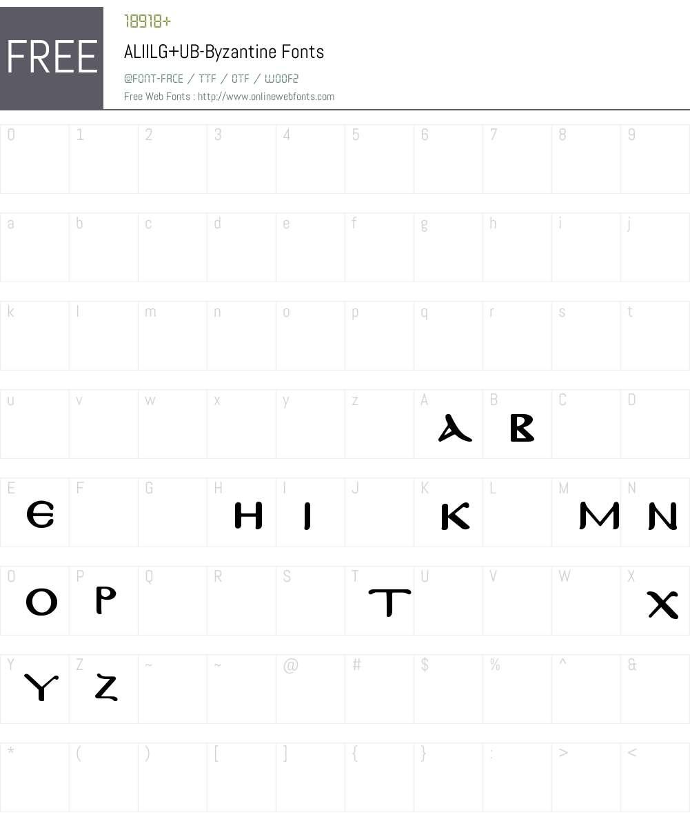 ALIILG+UB-Byzantine Font Screenshots