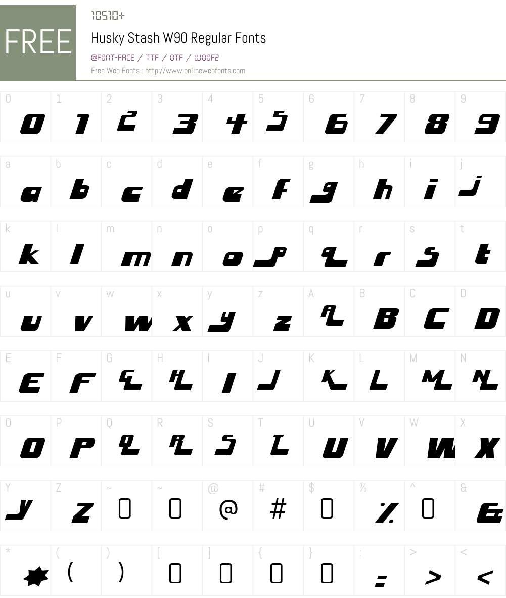HuskyStashW90-Regular Font Screenshots