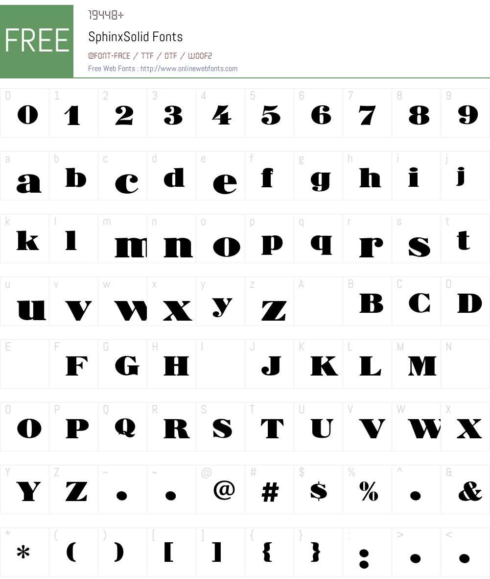 SphinxSolid Font Screenshots