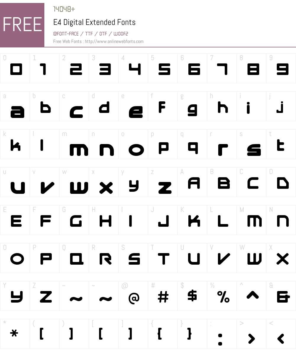 E4 Digital Extended Font Screenshots