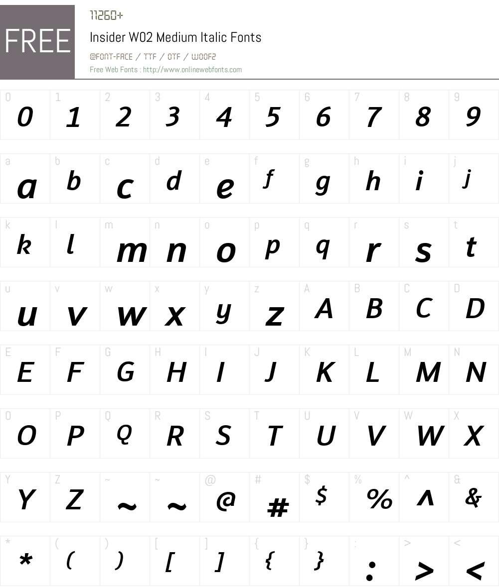 Insider Font Screenshots