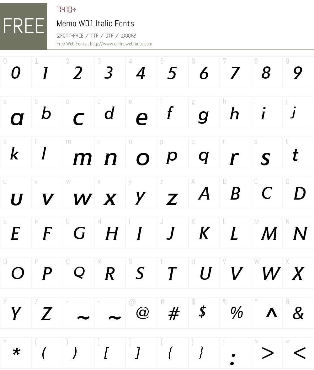 MemoW01-Italic Font Screenshots