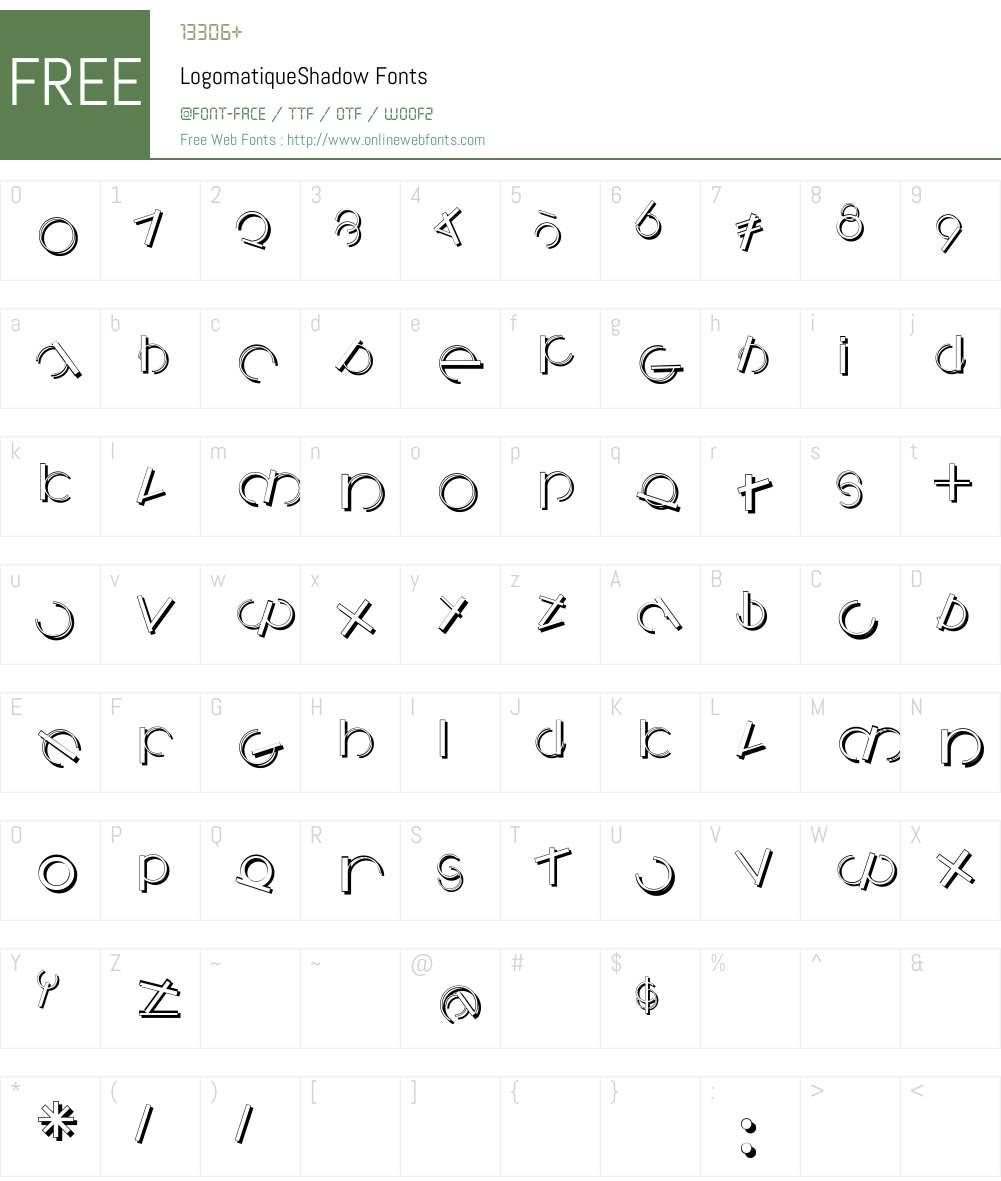 LogomatiqueShadow Font Screenshots