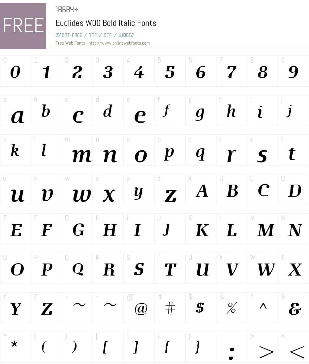 EuclidesW00-BoldItalic Font Screenshots