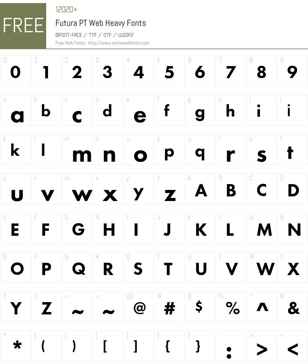 Futura PT Web Heavy Font Screenshots