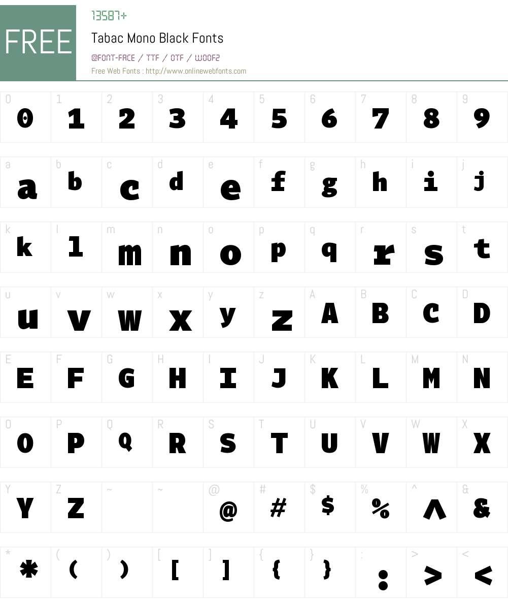 Tabac Mono Black Font Screenshots