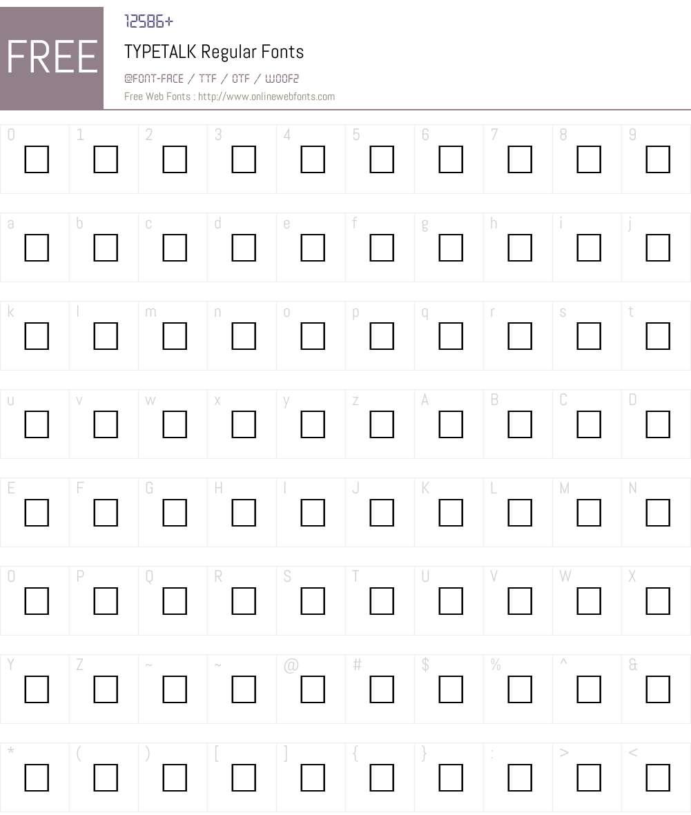 TYPETALK Font Screenshots