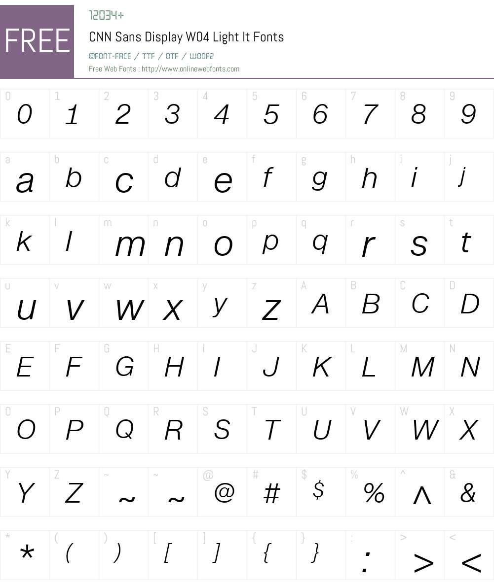 CNN Sans Display W04 Light It Font Screenshots