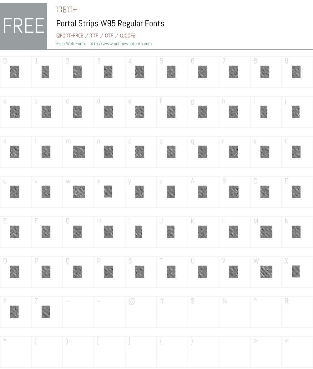 PortalStripsW95-Regular Font Screenshots