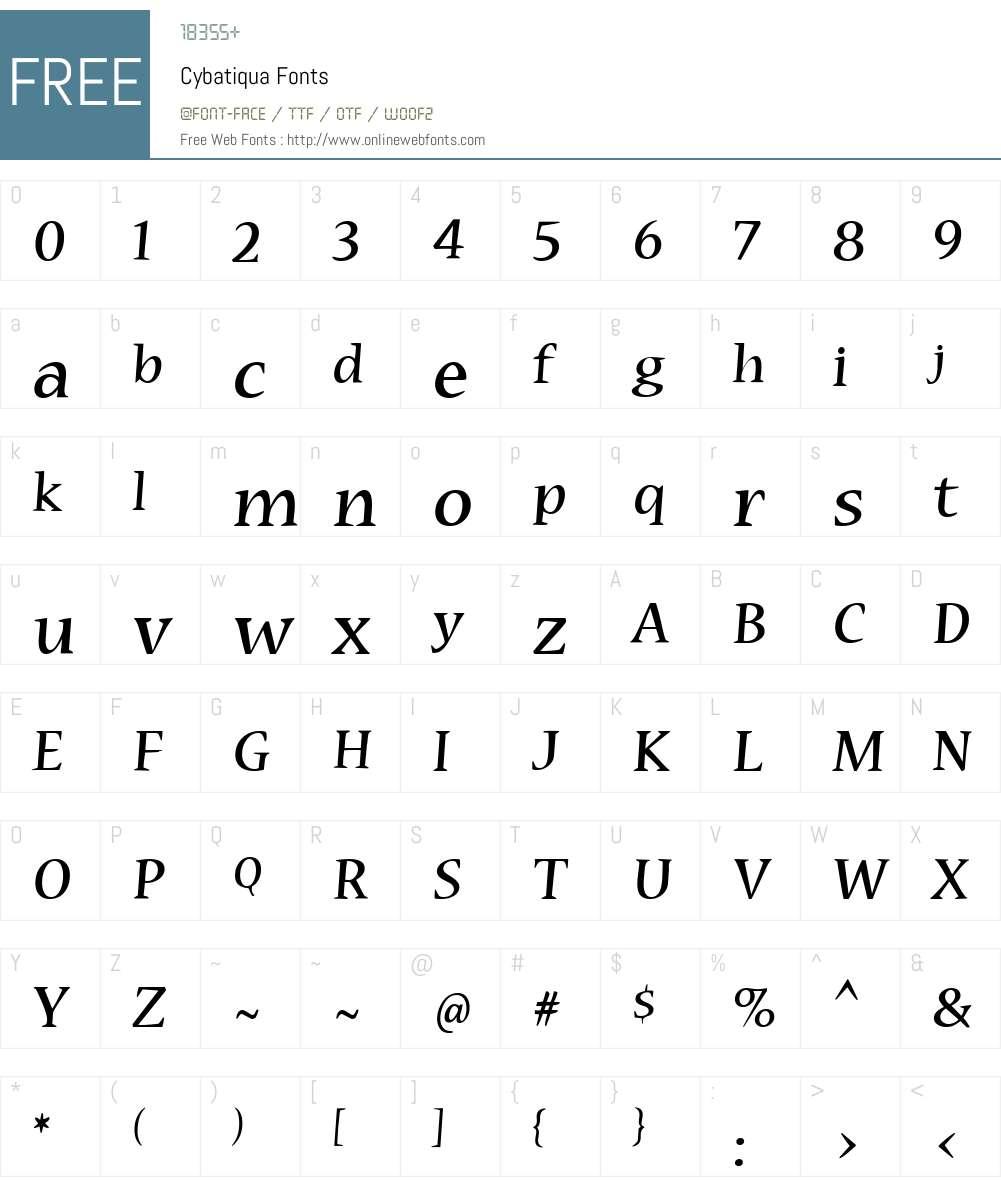 Cybatiqua Font Screenshots
