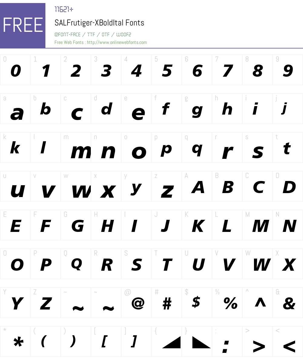 SALFrutiger Font Screenshots
