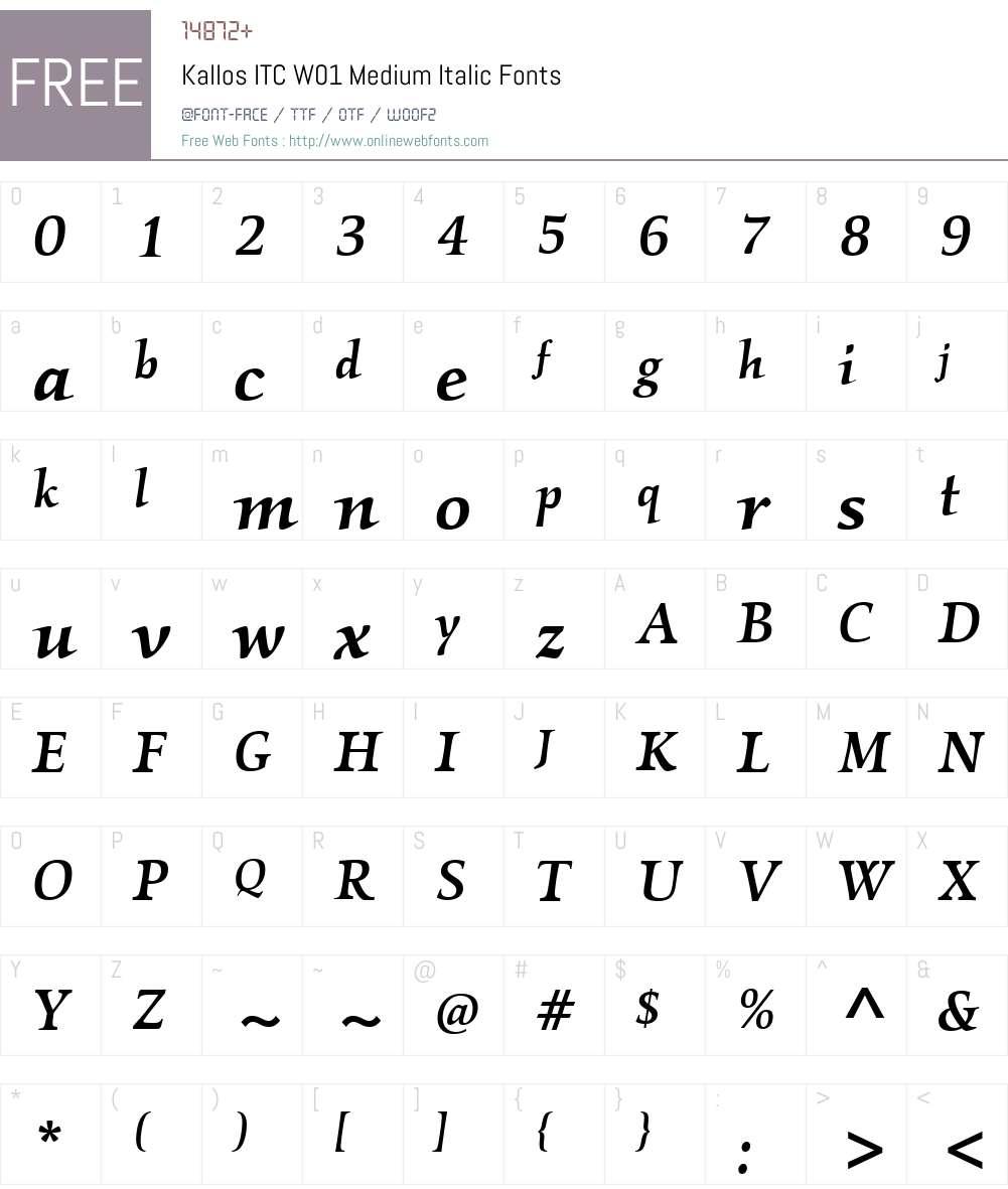 KallosITCW01-MediumItalic Font Screenshots