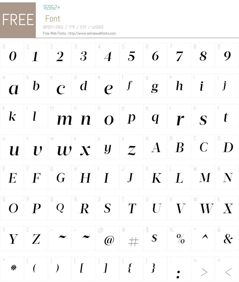 ActaDisplay-MediumItalic Font Screenshots