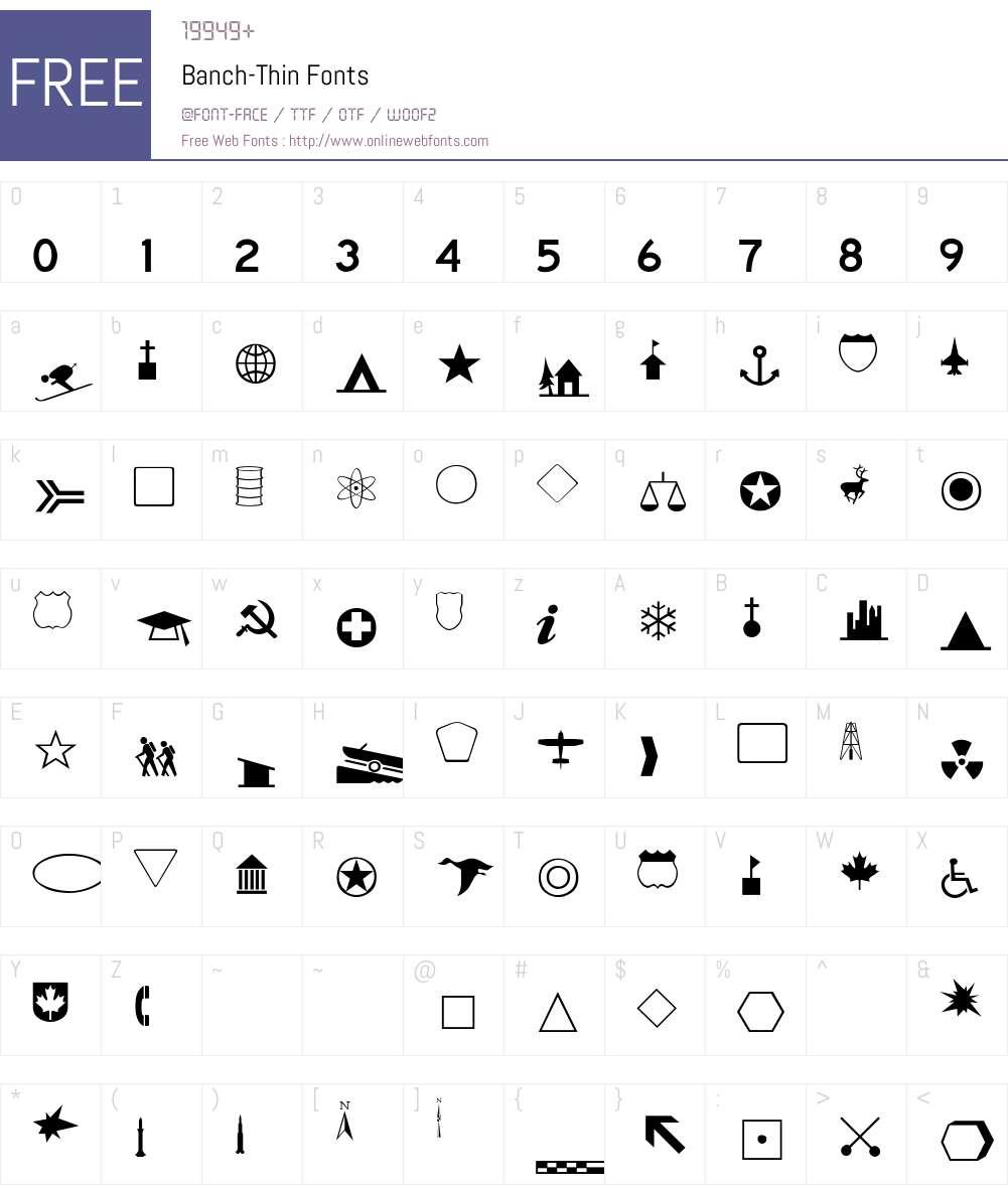 Banch-Thin Font Screenshots