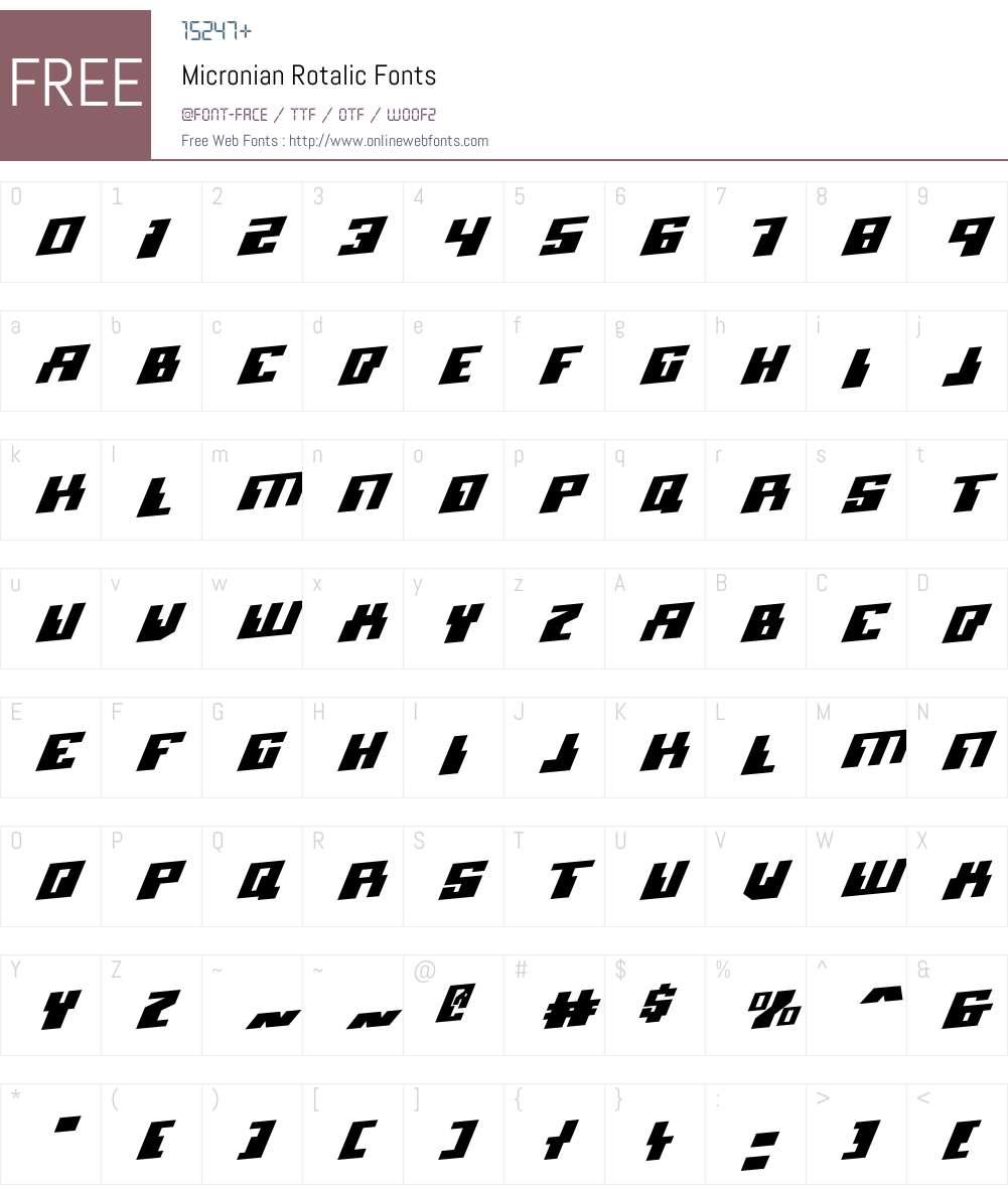 Micronian Rotalic Font Screenshots