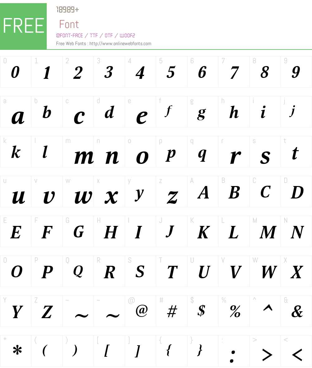 SelinaW01-BoldItalic Font Screenshots