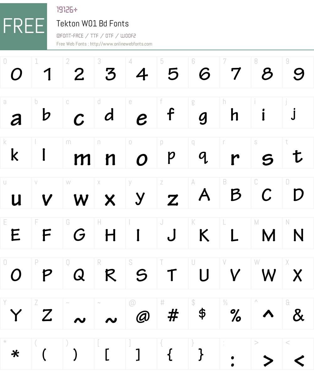 TektonW01-Bd Font Screenshots