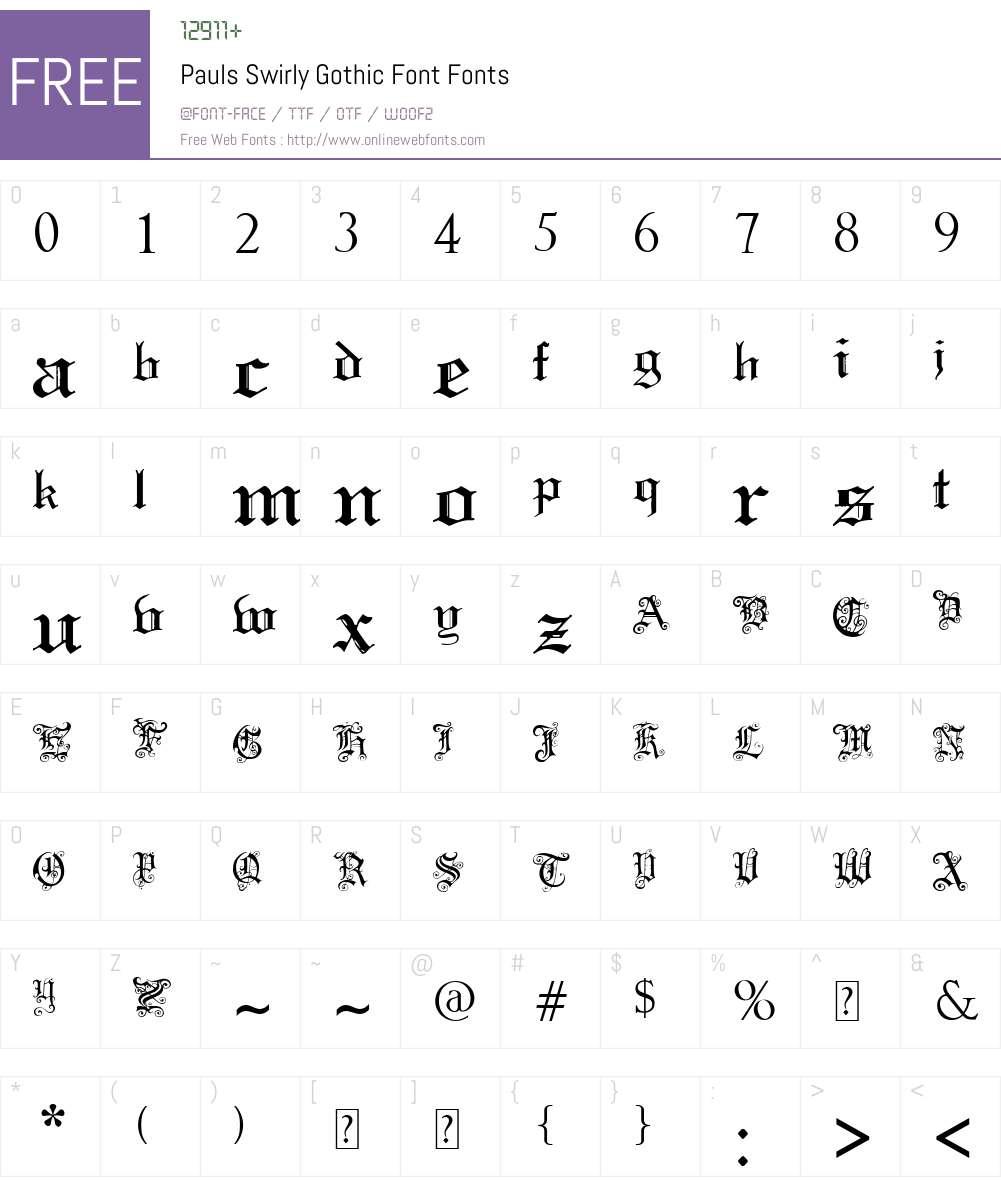Pauls Swirly Gothic Font Font Screenshots