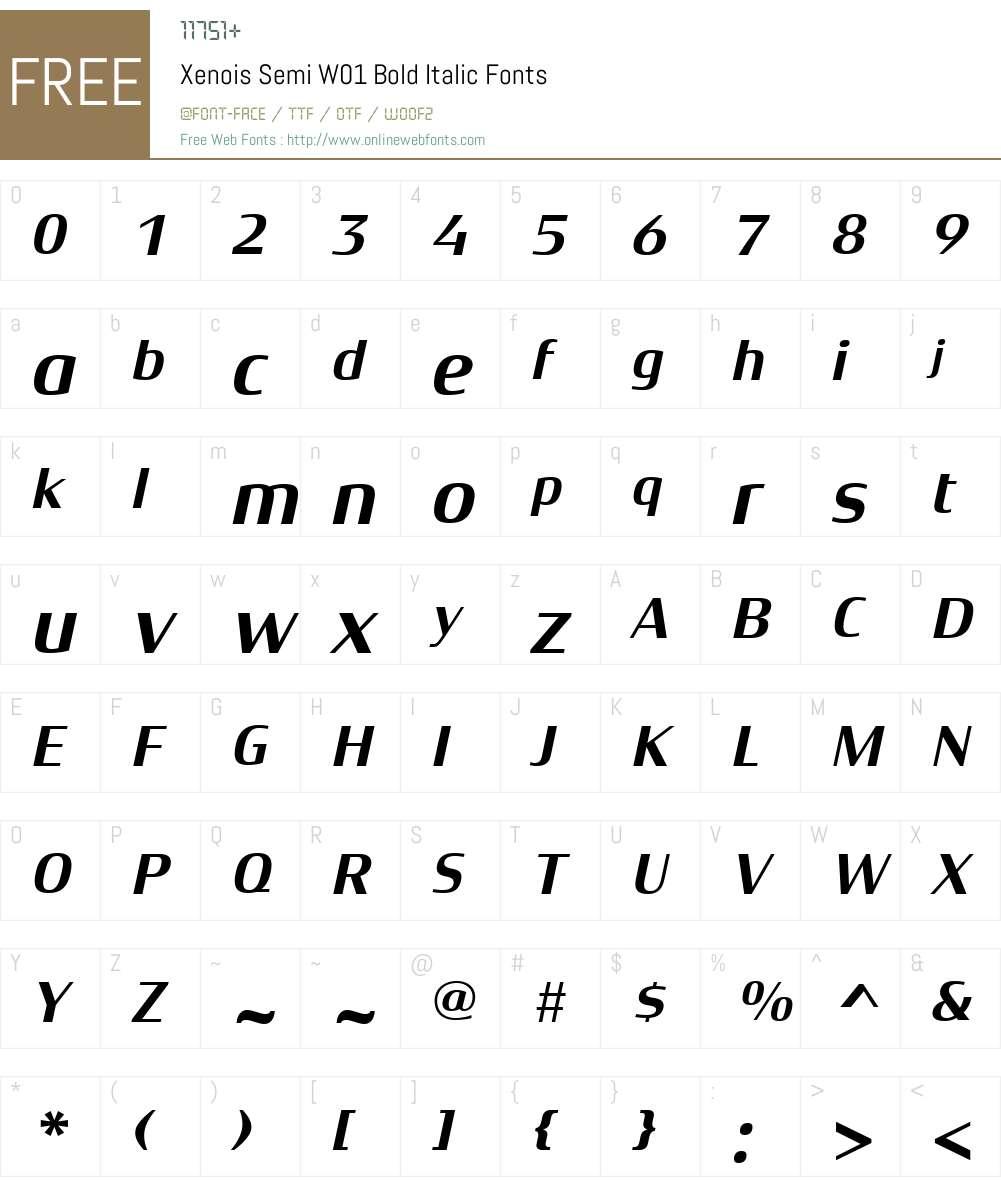 XenoisSemiW01-BoldItalic Font Screenshots