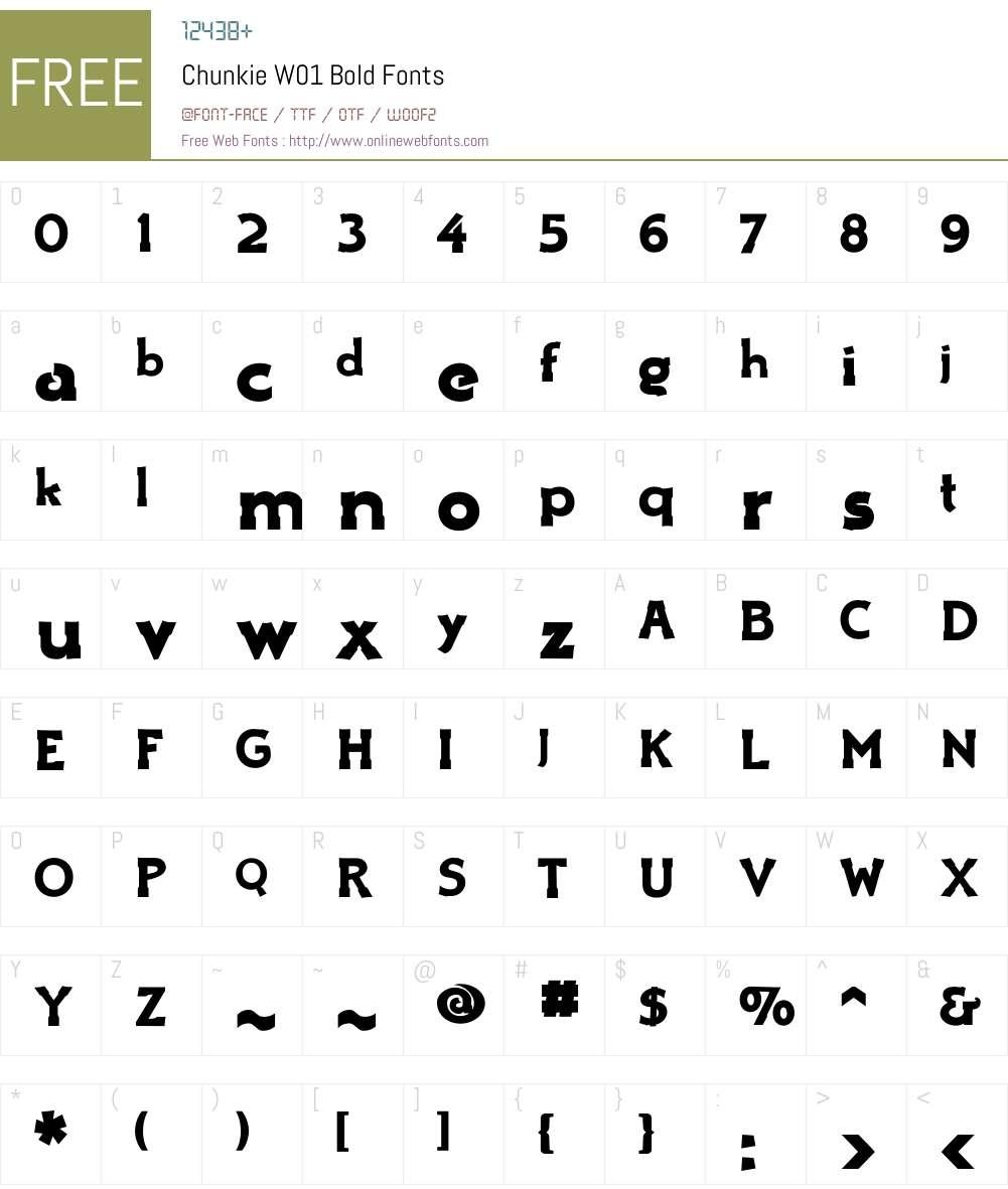 ChunkieW01-Bold Font Screenshots