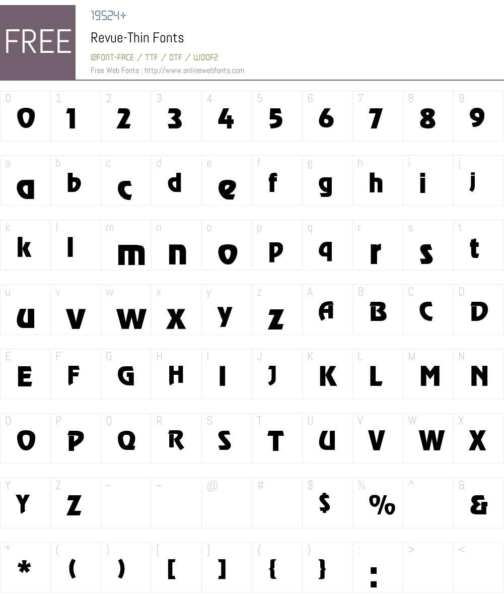 Revue-Thin Font Screenshots