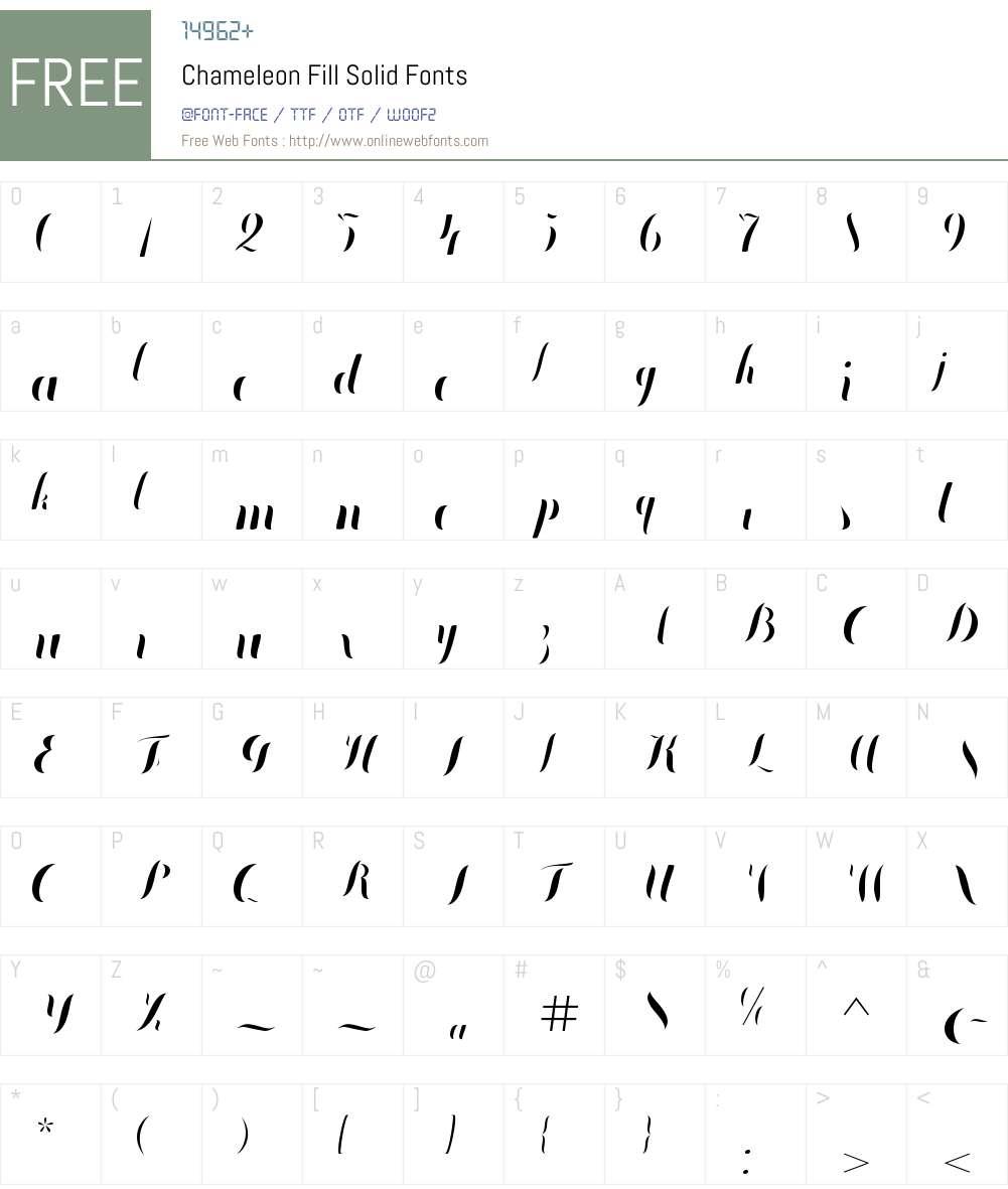 Chameleon Fill Solid Font Screenshots