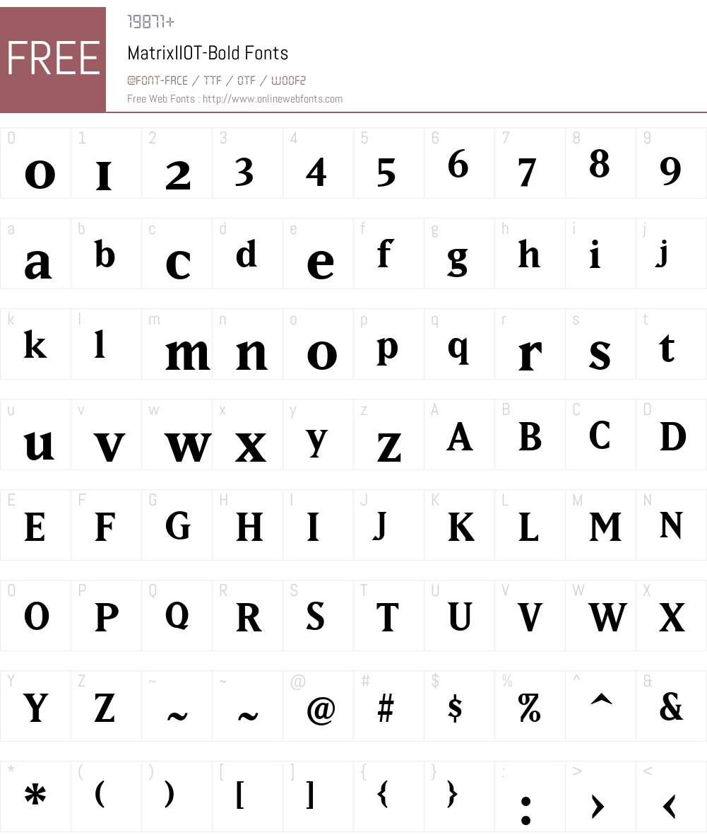 MatrixIIOT-Bold Font Screenshots