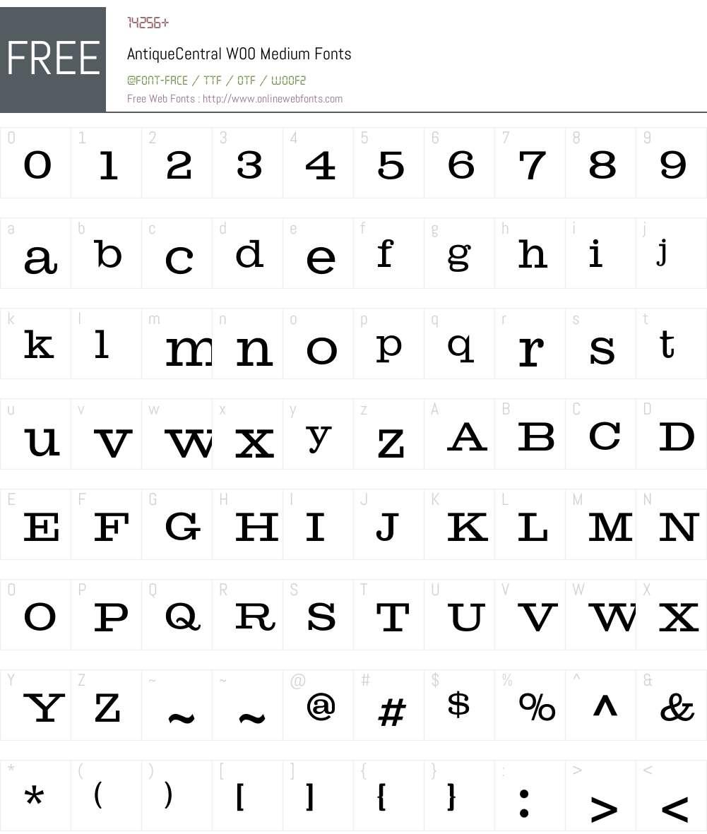 AntiqueCentralW00-Medium Font Screenshots
